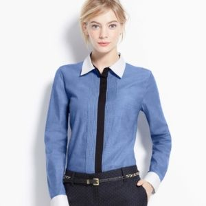 Ann Taylor Pintuck Perfect Shirt Button Down Sz M